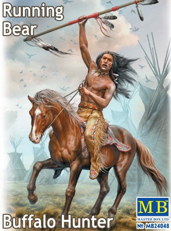 Master Box 1/24 Running Bear Buffalo Hunter Indian Holding Spear Riding Horse Kit