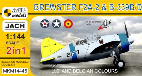 Mark I 1/144 Brewster F2A2 & B339B/D Buffalo USN/USAAF/Belgian AF Fighter (2 Kits)