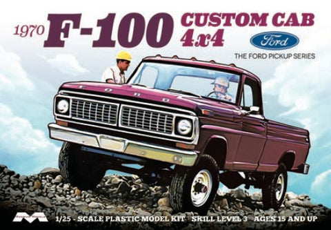Moebius Model Cars 1/25 1970 Ford F100 Custom Cab 4x4 Pickup Truck Kit