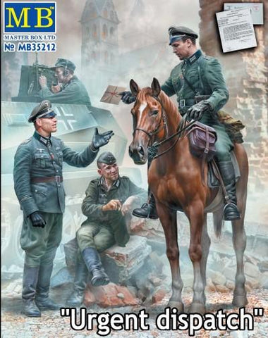 Master Box 1/35 Urgent Dispatch WWII German Military Men (4) & Horse Kit