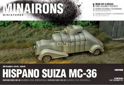 Minairons Miniatures 1/100 Spanish Civil War: Hispano Suiza MC36 Armored Truck (1) (Resin) Kit