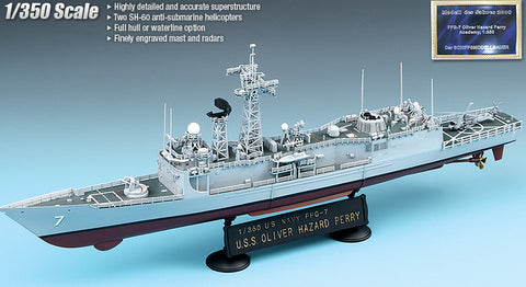 Academy Ships 1/350 USS Oliver Hazard Perry FFG7 Guided Missile Frigate Kit