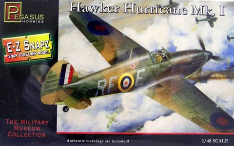 Pegasus Hobbies Aircraft 1/48 Hawker Hurricane Mk I RAF Fighter Snap Kit