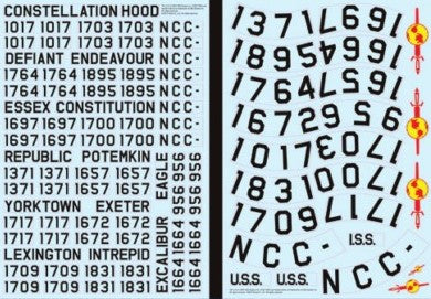 Polar Lights Sci-Fi 1/350 Star Trek The Original Series USS Enterprise Registry Decals