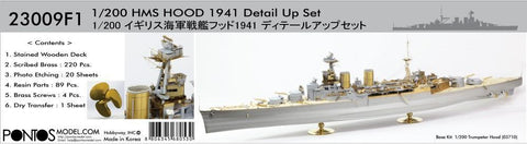 Pontos Model 1/200 HMS Hood 1941 Detail Set for TSM