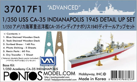 Pontos Model 1/350 USS Indianapolis CA35 1945 Detail Set for ACY & TSM