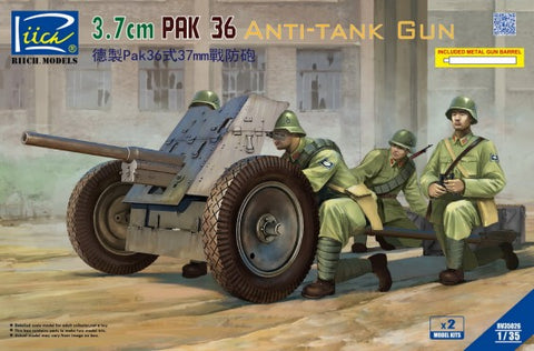 Riich Military 1/35 3.7cm PaK36 Anti-Tank Gun (2) Kit