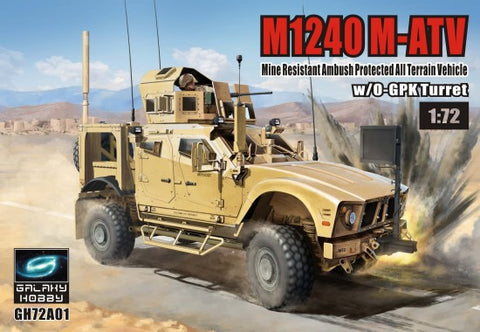 Riich Military 1/72 Galaxy Hobby: M1240 M-ATV Mine Resistant Ambush Protected All-Terrain Vehicle w/O-GPK Turret (New Tool) Kit