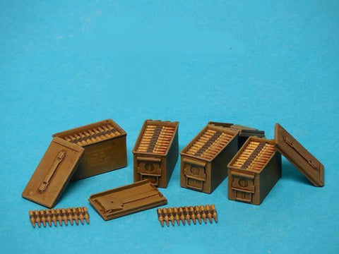 Special Ops 1/16 .50 Cal Ammo Boxes Open (4) w/Ammo Belts & Decals