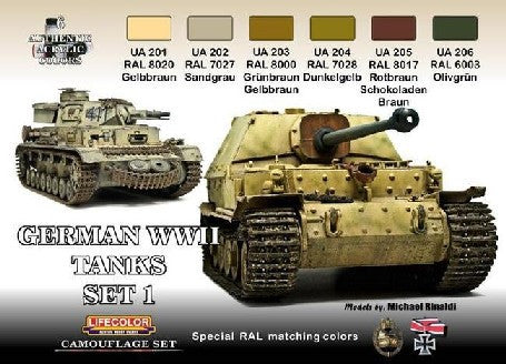Lifecolor Acrylic German WWII Tanks #1 Camouflage Acrylic Set (6 22ml Bottles)