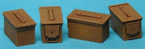 Special Ops 1/16 .50 Cal Ammo Boxes Closed (4) w/Decals (Unpainted Resin)