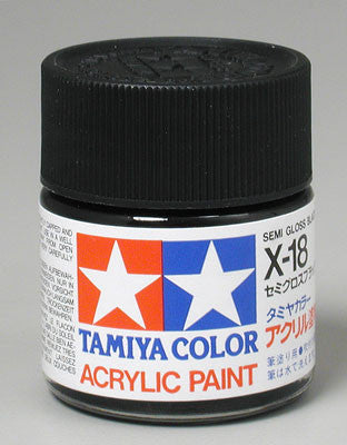 Tamiya Acrylic X18 Gloss Semi-Gloss Black 23 ml Bottle