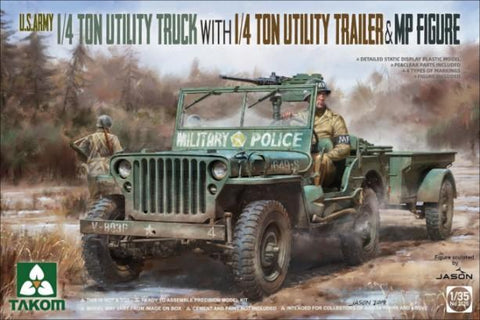 Takom Military 1/35 US Army 1/4-Ton Utility Truck w/Trailer & MP Figure (New Tool) Kit