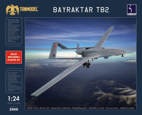 Tanmodel Aircraft 1/24 Bayraktar TB2 Medium-Altitude Long-Range Unmanned Aircraft (New Tool) Kit