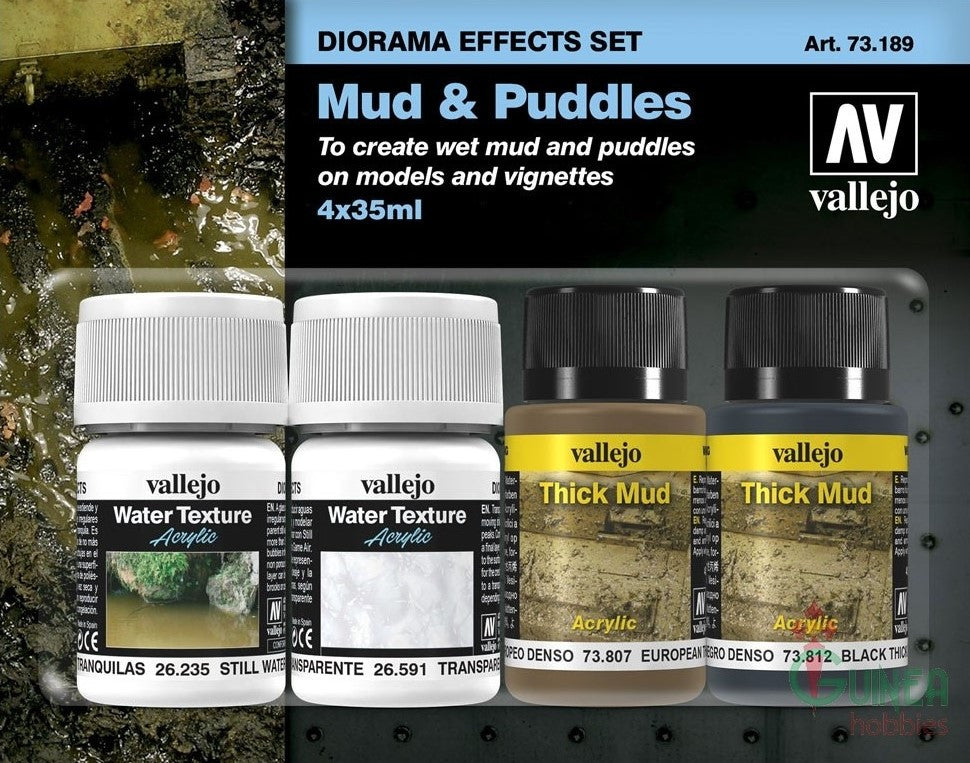 Vallejo Acrylic 35ml/30ml Bottles Mud & Puddles Diorama Effect Paint Set (4 Different)