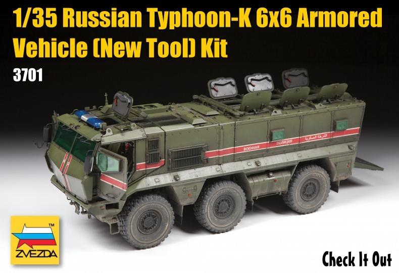 Zvezda Military 1/35 Russian Typhoon-K 6x6 Armored Vehicle (New Tool) Kit