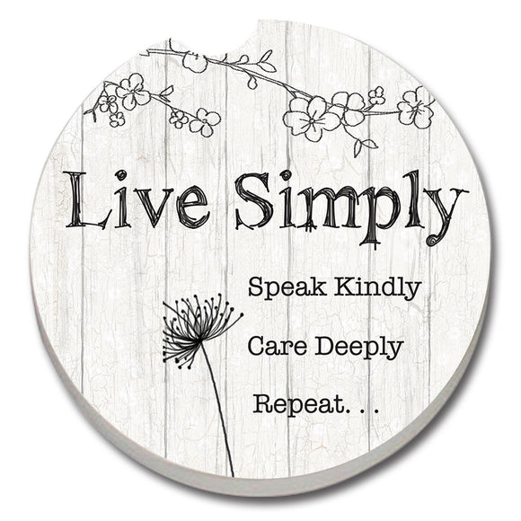Car Coaster 1PK Live Simply - Fort Valley Bob's Simple Man Store