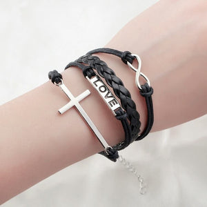 Leather bracelet - One piece Love Cross Infinity - Fort Valley Bob's Simple Man Store