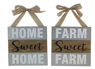 Wood Sign with Burlap Bow (Assorted)