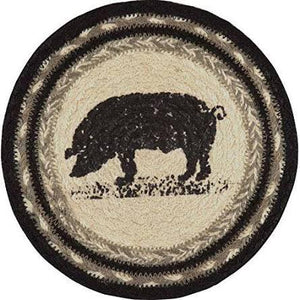 "8"" JUTE TRIVETS -SAWYER MILL PIG"