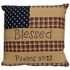 Patriotic Patch Blessed 10 x 10 Pillow