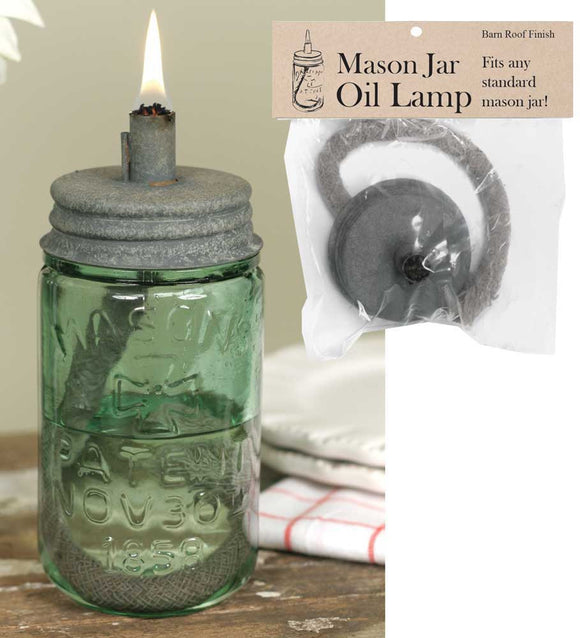 Mason Jar Oil Lamp Lid/ Barn Roof - Fort Valley Bob's Simple Man Store