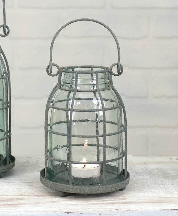 Midget Pint Mason Jar Candle Cage Barn Roof