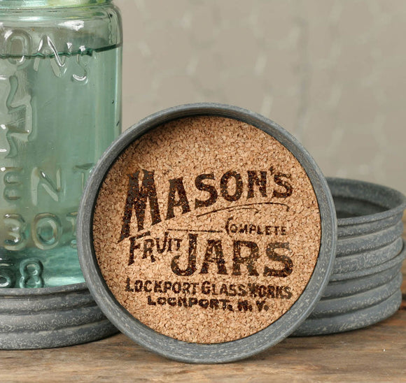 Mason Jar Logo Lid Coasters - Barn Roof - SET OF 4 - Fort Valley Bob's Simple Man Store