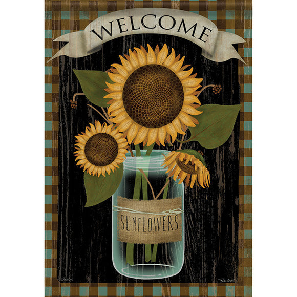 Garden Flag- Sunflower Jar