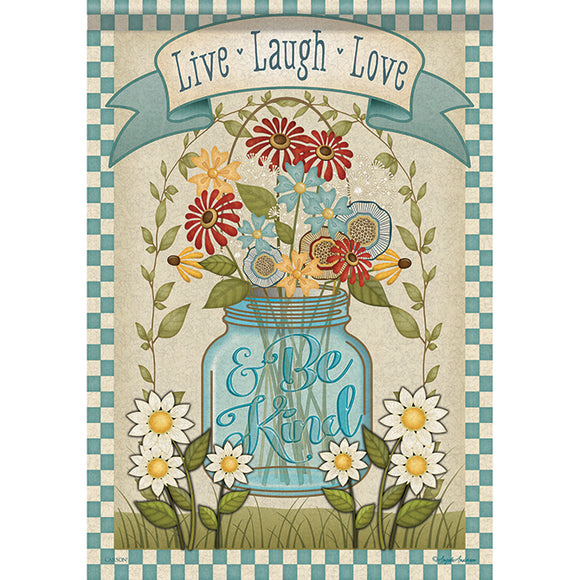Garden Flag MASON JAR FLORAL (Double Sided)