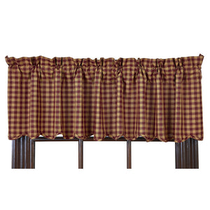 VHC BURGUNDY CHECK SCALLOPED VALANCE 16 X 72""