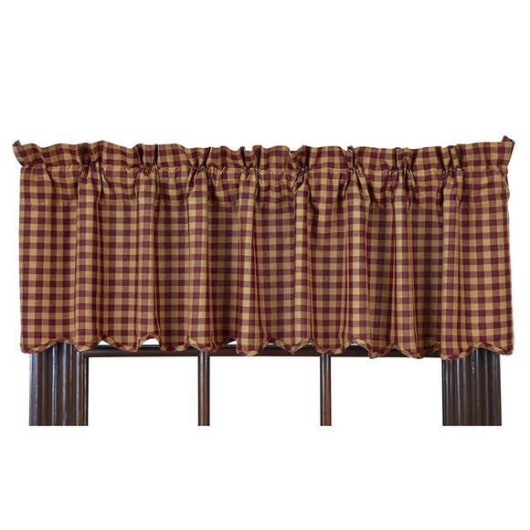 VHC BURGUNDY CHECK SCALLOPED VALANCE 16 X 72