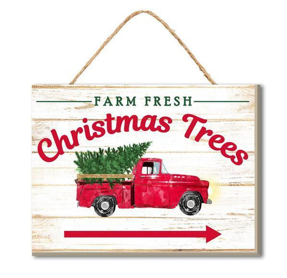 "Wooden Sign Farm Fresh CHRISTMAS TREE 6.5"" RED TRUCK"