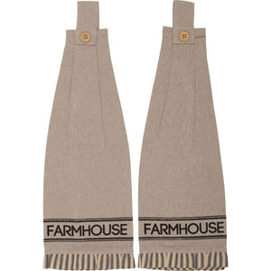 Sawyer Mill Charcoal FARMHOUSE  Button Loop Kitchen Towel