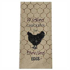 Wicked Chickens Printed Dish Towel / Tea Towel