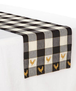 Devon Black and White Rooster Table Runner 13 x 54""