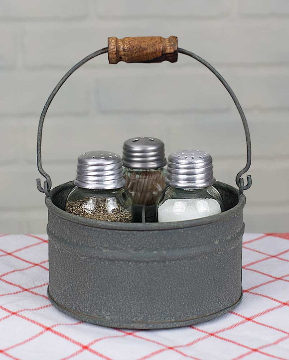 Round Bucket Mason Jar Salt, Pepper and Toothpick Caddy Barn Roof - Fort Valley Bob's Simple Man Store