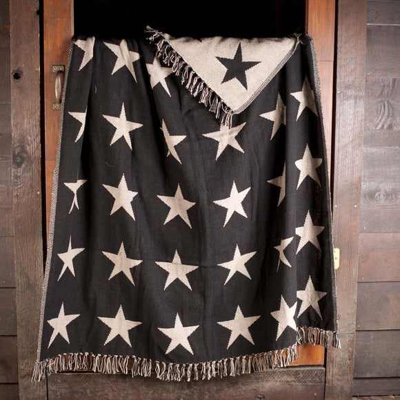VHC Black Star Throw Woven 60