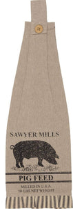 Sawyer Mill Charcoal PIG Button Loop Kitchen Towel