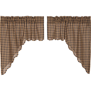 "(SALE) Navy Check Scalloped Swag set of two 36"" x 36"" x 16"""