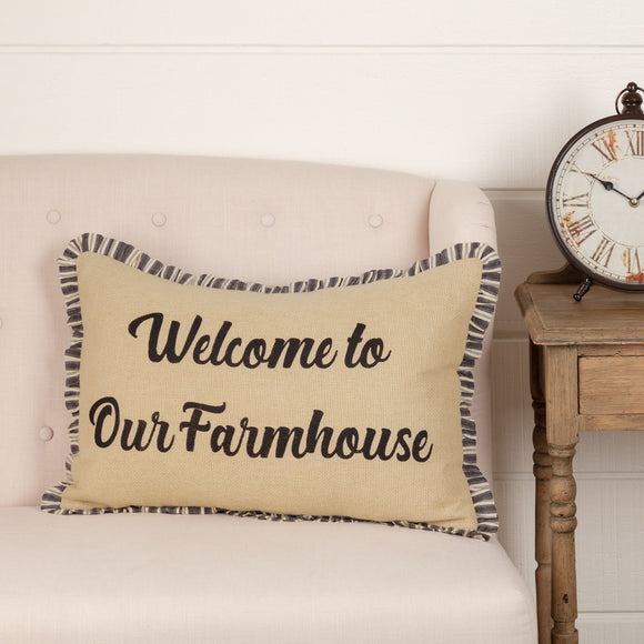 VHC Ashmont Burlap Vintage Welcome to Our Farmhouse Pillow 14