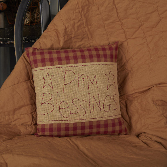 VHC BURGUNDY CHECK PRIM BLESSINGS PILLOW 12 X 12
