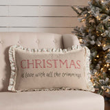 VHC Christmas Carol Trimming Pillow 14 x 22