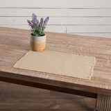 "VINTAGE Burlap Placemats Fringed 12 x 18"" (Set of 6)"