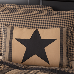 Black Check Star Patch Pillow 14 x 22
