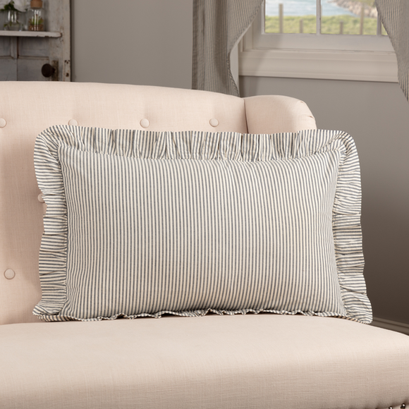 (SALE) HATTERAS SEERSUCKER BLUE TICKING STRIPE FABRIC PILLOW 14X22