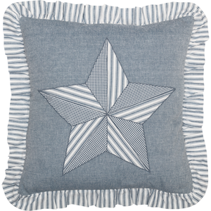 "(SALE) Sawyer Mill Blue Barn Star Pillow 18"" x 18"""