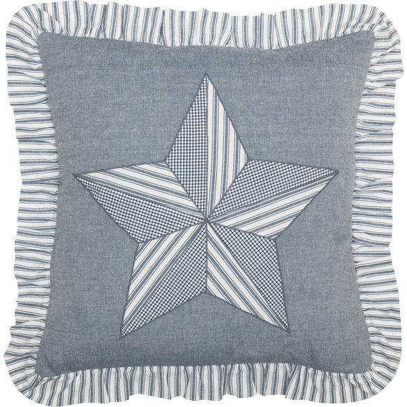 (SALE) Sawyer Mill Blue Barn Star Pillow 18