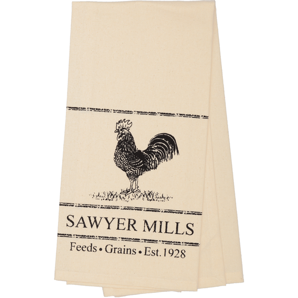 Sawyer Mill Charcoal POULTRY Unbleached Muslin Natual Tea Towel