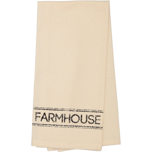 Sawyer Mill Charcoal FARMHOUSE Unbleached Muslin Natural Tea Towel